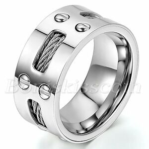 10mm-Wide-Men-039-s-Stainless-Steel-Ring-Cables-Screw-Design-Wedding-Band-Size-7-13