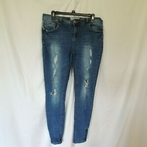 Hot-Kiss-Womens-Skinny-Lily-Jeans-Acid-Washed-Stretch-Distressed-Size-13