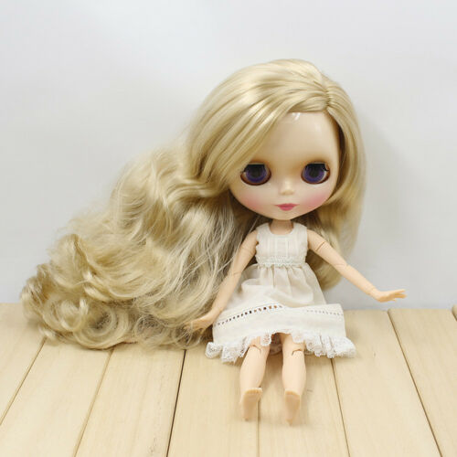 "New 12/"" Takara Blythe From factory Nude Doll light blonde Long curly Side hair"