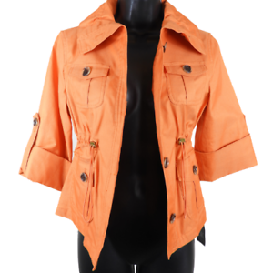 NWT-Anne-Klein-Orange-3-4-Sleeve-Button-Up-High-Neck-Draw-String-Jacket-Size-PS