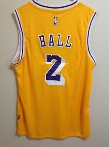 separation shoes f7c96 41a77 Details about Lakers Lonzo Ball Yellow #2 Adult Jersey Size XL
