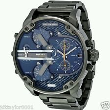 100% NEW Mr. Daddy 2.0 DIESEL DZ7331 Gunmetal Blu Denim Bracciale Orologio da uomo