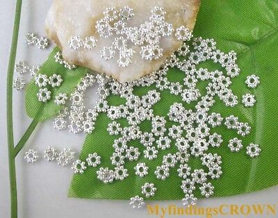 3000 PCS Bright Silver plated daisy spacer beads 4mm W308