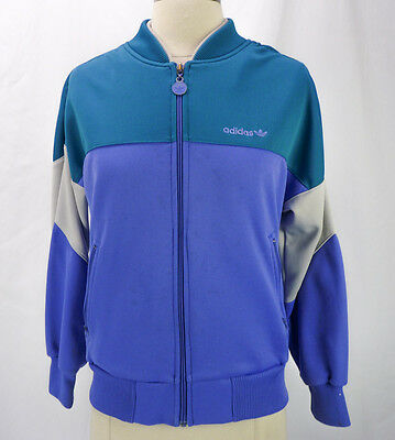 Vintage 80s Adidas Trefoil Tracksuit Sweat Jacket Zip Colorblock Teal Purple M