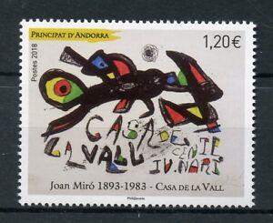 French-ANDORRA-2018-Gomma-integra-non-linguellato-Joan-Miro-Casa-de-La-Vall-1v-Set-Arte-Dipinti
