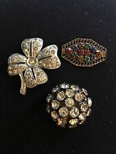 ANTIQUE VICTORIAN LOT OF 3 BROOCH-PINs 1900's CRYSTAL STONES GLASS MIX COLORS
