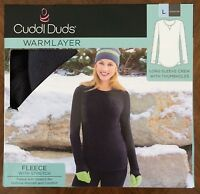 Cuddl Duds Warm Layer Long Sleeve Crew W/ Thumbholes Gray Fleece Stretch Large