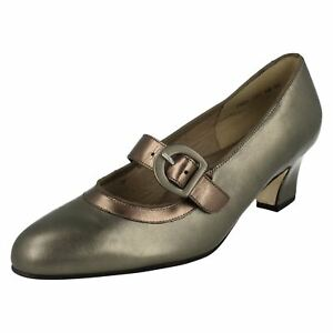 Ladies-Equity-Antique-pewter-Metallic-Foil-Mary-Jane-Court-Shoes-MAXINE-E-Fit