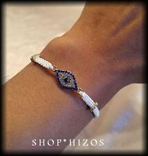 NEW BLUE WHITE BLACK PAVE CRYSTAL EVIL EYE ROPE BOLO SLIDER BRACELET