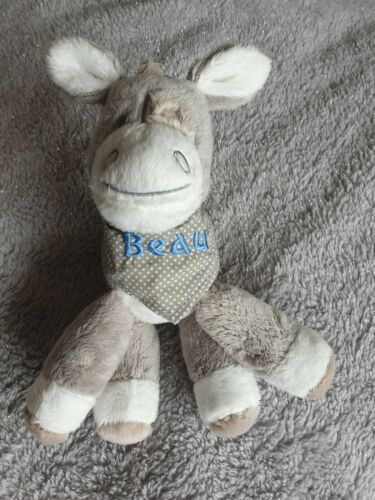 Personalised  Embroidered donkey Soft Toy Birth Christening boy//girl blue//pink