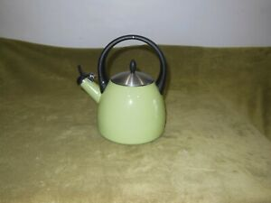 Metal-Enamel-Stove-Top-Tea-Pot-Kettle-Avocado-Green