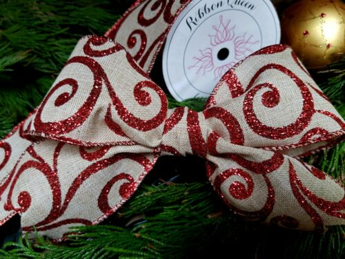 "RED GLITTER SCROLL WIRE WIRED EDGE BURLAP RIBBON 2.5/"" CHRISTMAS TREE CAKE TRIM"