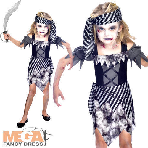Zombie Pirate Girls Fancy Dress Halloween Ghost Buccaneer Kids Childrens Costume