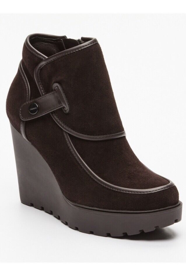 CALVIN KLEIN Ankle boots Severine, UK7-41 sueded leather-brown-compensated heel, UK7-41 Severine, 8fe0ad