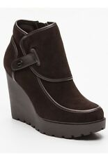 CALVIN KLEIN Ankle boots Severine, sueded leather-brown-compensated heel, UK7-41