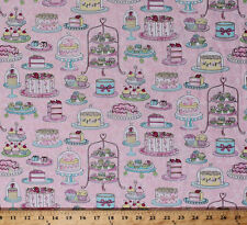 Decorated Cakes Cupcakes Pastries Desserts Food Cotton Fabric Print BTY D588.20