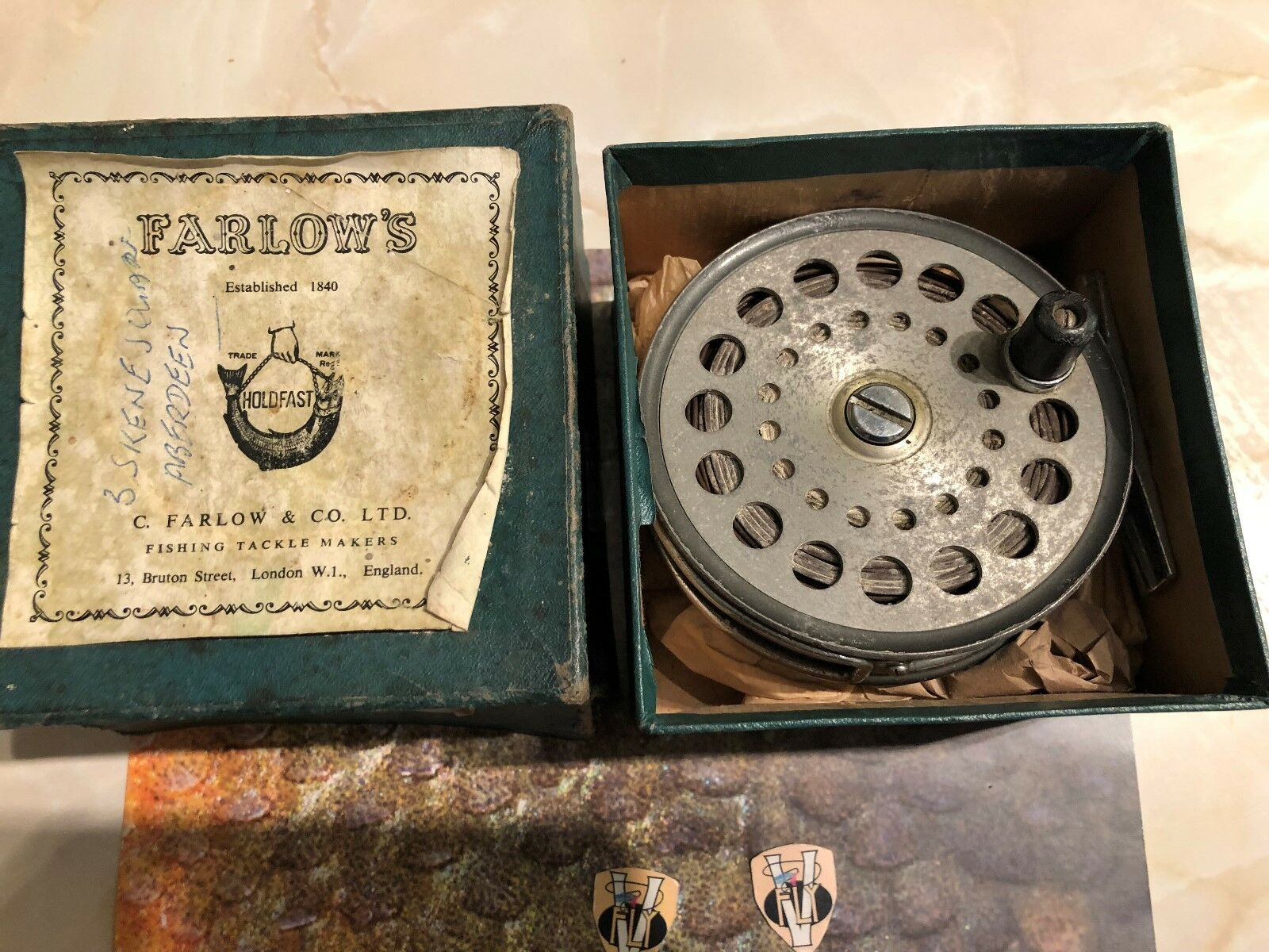 Vintage Farlow's London 4 Inch Grenaby Salmon Fly Reel with Line Fly Line with & Box 31dc7c