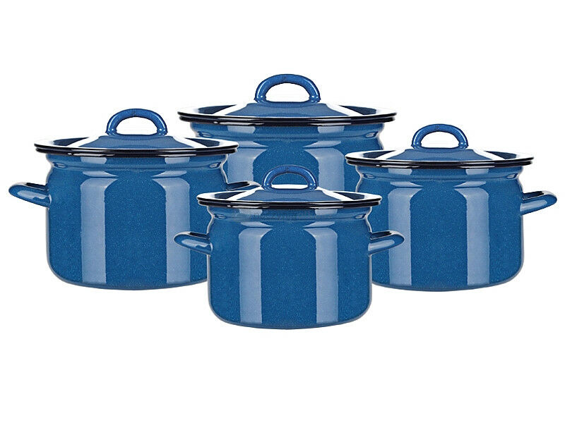 8 pc émail Cookware Set Casseroles Couvercle Bleu Ustensile élégant Pan Olkusz