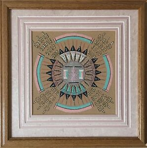 Vintage Authentic Fred Harvey Navajo Sand Painting Signed By Artist