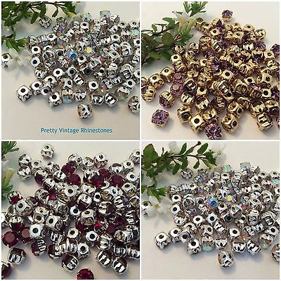 Sew on rhinestones in silver//gold setting 28ss 6mm Pack 50 CRAFT Post Free