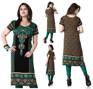 Green-Women-Printed-Indian-Long-Pakistani-Kurti-Tunic-Kurta-Top-Shirt-Dress-118B