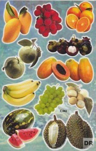 N-266 Früchte 1 Bogen 27 x 18 cm Kinder Spielen Basteln Aufkleber Sticker Basteln & Kreativität