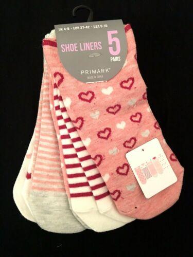 5 pares de calcetines cortos socks 37-42 Shoe Liners rosa blanco tobillo medias corazón