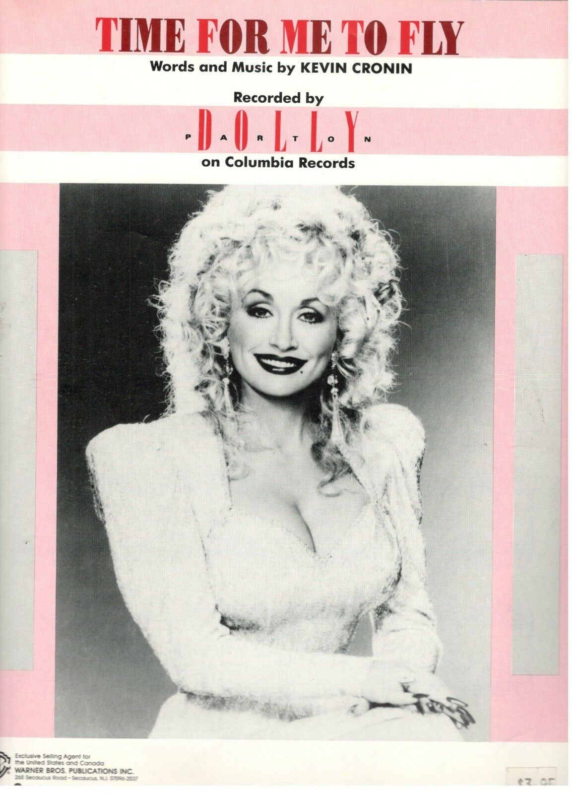 DOLLY PARTON  TIME FOR ME TO FLY  SHEET MUSIC-PIANO VOCAL GUITAR CHORDS-RARE-NEW