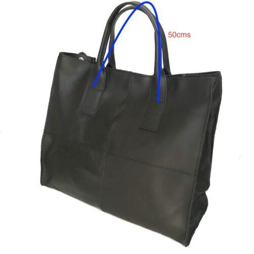 Vera Pelle Azzurro Donna Made In Shopper Borsa Italy Blu Tracolla HSAqqw