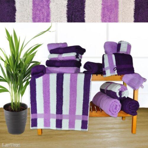 HANDTUCH Serie DELUXE 550g lila uni oder Streifen Design, Luxusqualität