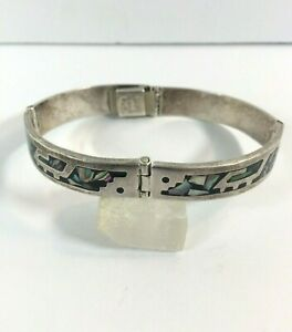 Vintage-Sterling-Silver-Bracelet-Abalone-Onyx-Inlay-Taxco-Four-Hinge-Box-Clasp