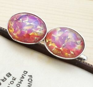 Vintage-1950s-CZECH-Rose-amp-Gold-Fire-Glass-Opal-Oval-Silver-Plated-Cufflinks