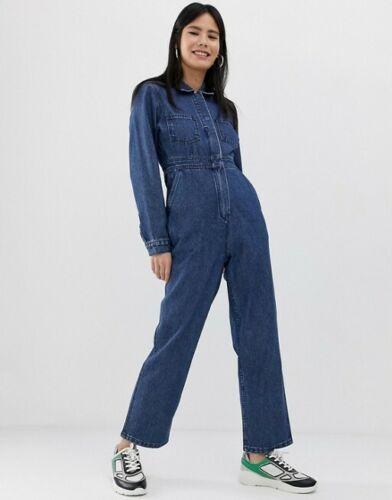 ASOS denim utility boilersuit jumpsuit midwash blu
