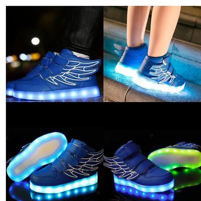 Kids Boys USB LED Shoes Light Up Luminous Children Trainers Sport Sneakers