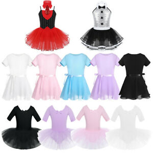 Girl-Ballet-Dance-Dress-Leotard-Dancing-Skating-Show-Short-Sleeve-Dancewear-Xmas