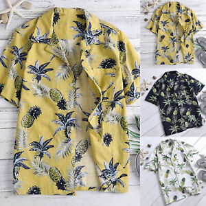 Mens-Boho-Floral-Short-Sleeve-Hawaiian-Tee-Summer-Beach-Holiday-Tops-T-Shirts-US
