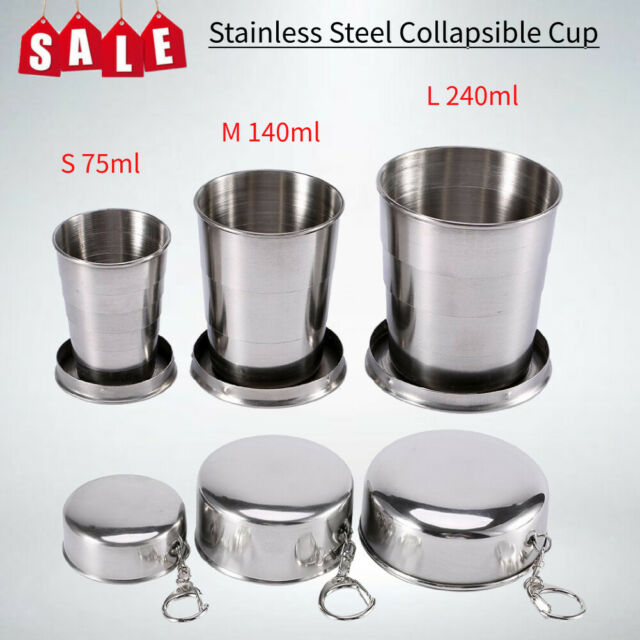 Stainless Steel Portable Mini Travel Retractable Cup Folding Collapsible Cup