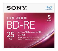 5 Sony Bluray RW BD RE 25GB 2X Speed Rewritable Blu ray Inkjet Printable Blank