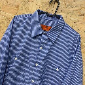 Vintage-RED-KAP-Workwear-Work-Long-Sleeve-Shirt-Blue-Striped-Size-XL