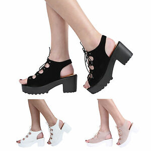 0c5a50b24fe NEW WOMENS GIRLS KIDS LACE UP CLEATED BLOCK HEEL PLATFORM SANDAL ...