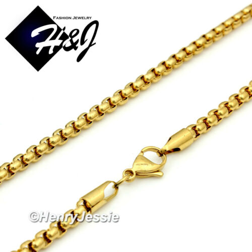 """20/""""Men/'s Women/'s Stainless Steel 2mm Gold Smooth Box Link Chain Necklace"""