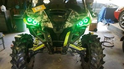 Can-Am Halo Rings headlights Maverick Green w// switch set 4 Canam commander