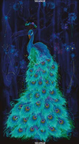Peacock Midnight Plume 24x44 Panel Timeless Treasures Cotton Fabric-$10.95