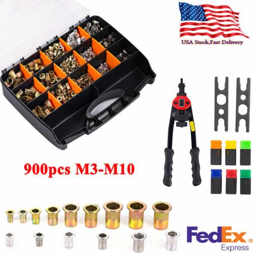 900pcs Nutsert Tool Kit M3-M10 Stainless Steel Hand Riveter Rivnut Nut Insert US