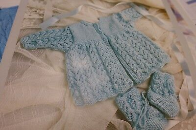 """20/"""" DK 1104 bonnet and bootees knitting pattern18/"""" Baby matinee jacket"""