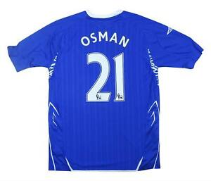 Everton 2007-08 ORIGINALE HOME SHIRT Osman #21 (eccellente) M SOCCER JERSEY