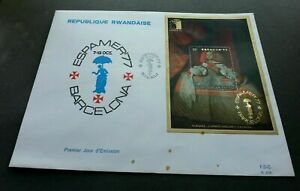 SJ-Rwanda-Painting-1977-Art-FDC-ESPAMER-039-77-gold-foil-unusual-see-scan