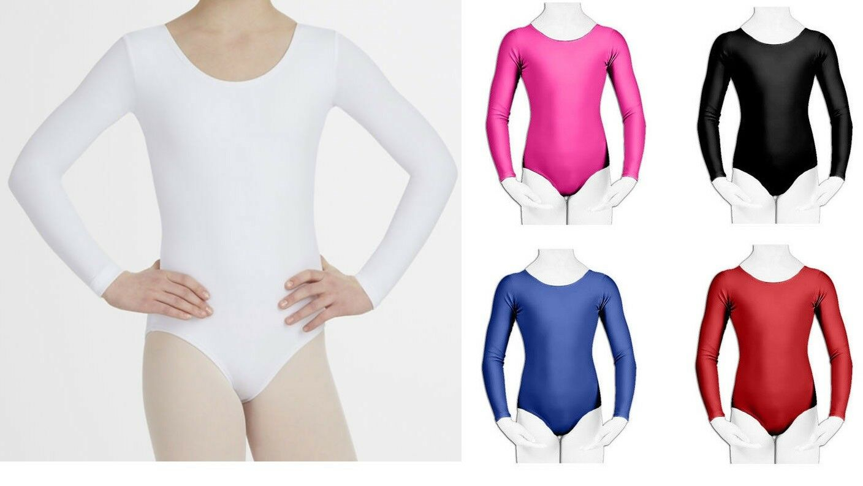 Girls Kids Leotard School Sport Dance Ballet Gymnastics Leotard Top Long Sleev