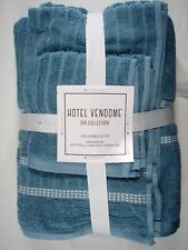 Hotel Vendome Spa Collection 6 Piece 100/% Combed Cotton Blue Bath Towel Set NEW
