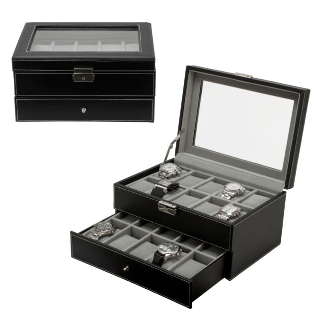 20 Watch Leather Box Glass Top Display Lockable Jewelry Organizer Storage Case